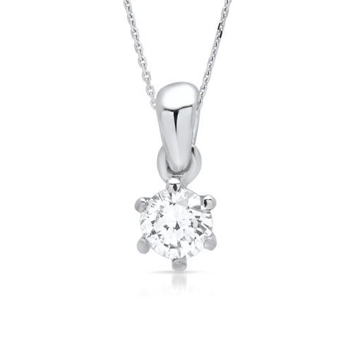 Feingliedriges 585er Weißgoldcollier mit Diamant