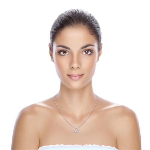 585 Weißgold Collier mit Diamantanhänger 0,01ct.