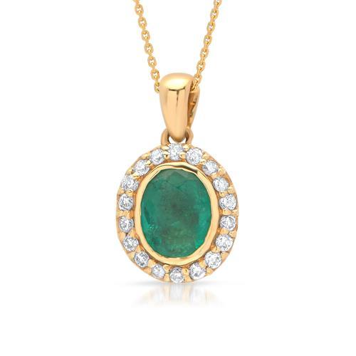 585er Gelbgold Collier mit Smaragd 0,26 ct.