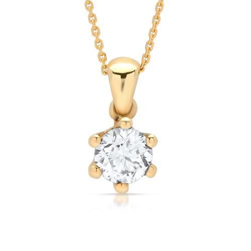 Collier aus Gelbgold mit Diamantanhänger 0,24ct.