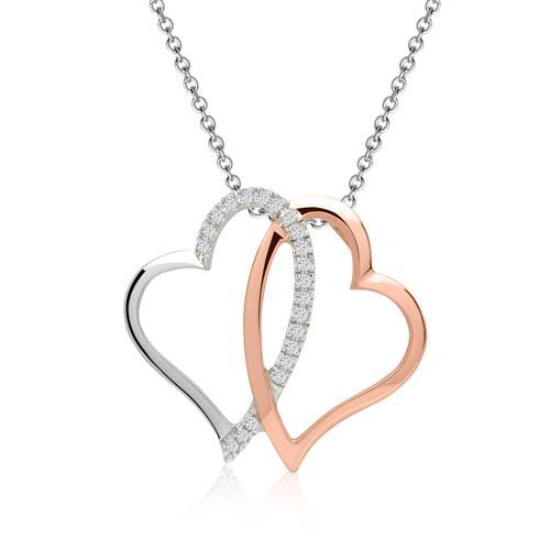 Kette Diamantanhänger Herzen 0,059 ct gesamt