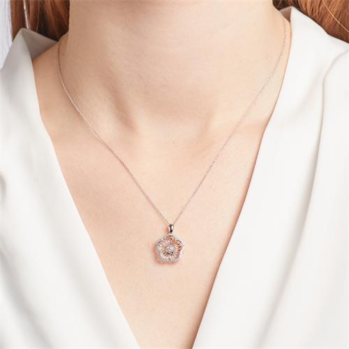 Collier Anhänger blütenförmig Diamanten 0,107 ct