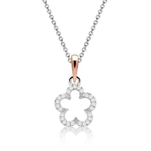 Funkelndes Diamantcollier Blüte 0,053 ct gesamt