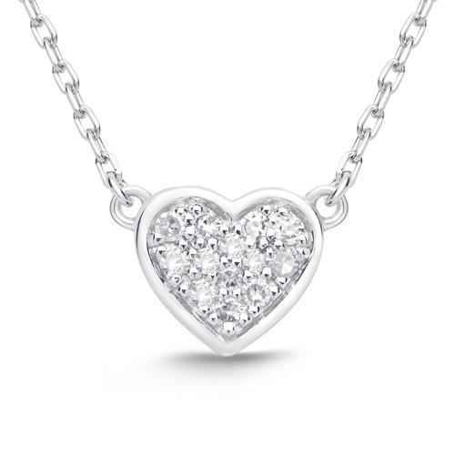 14ct White Gold Necklace Heart 13 Diamonds