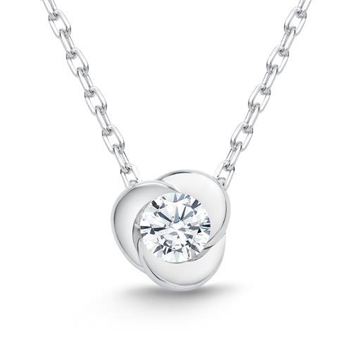 585er Weißgold-Collier Blume Diamant