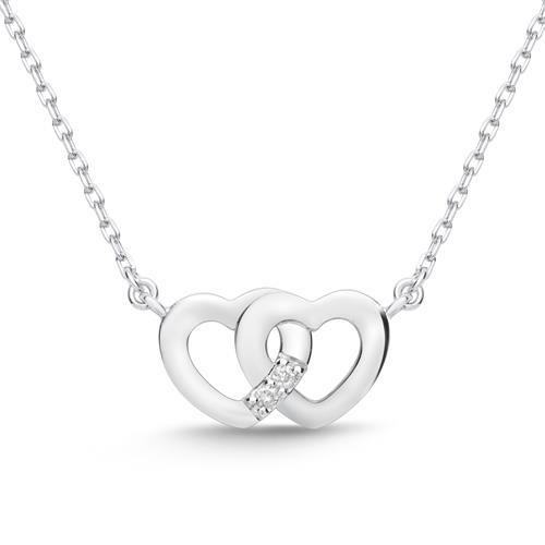 585er Weißgold-Collier Herzen 2 Diamanten