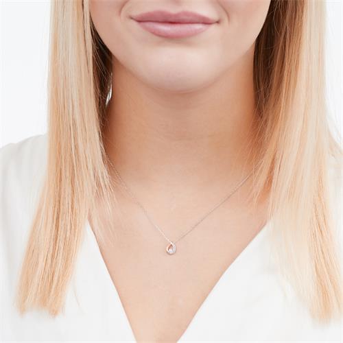 585er Weißgold-Collier Tropfen Diamant