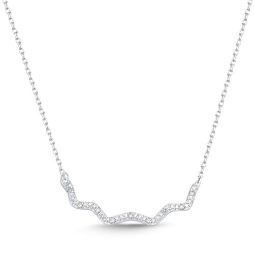585er Weißgold-Collier 9 Diamanten 0,027 ct.