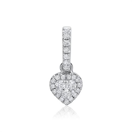 750er Weißgold-Herz-Anhänger mit 28 Diamanten 0,11 ct.