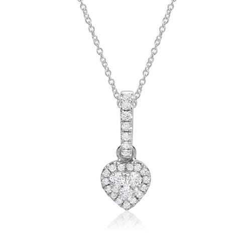 750er Weißgold-Herzanhänger 28 Diamanten