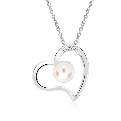 Weißgold kette mit herz  Weißgold-Kette Herz Perle und 2 Diamanten 0,016 ct.