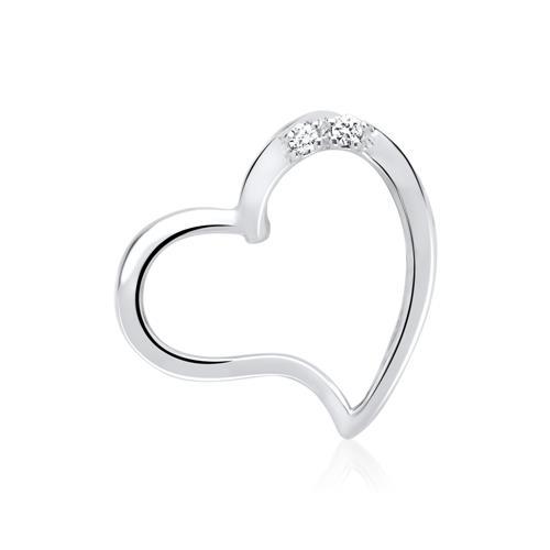 Kette Herz 585er Weißgold 2 Diamanten