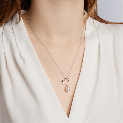 Weißgold-Anhänger Perle und 2 Diamanten