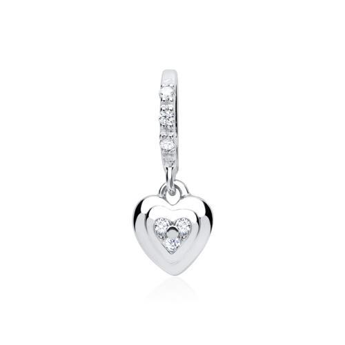 Weißgold-Kette Herz 6 Diamanten 0,036 ct.