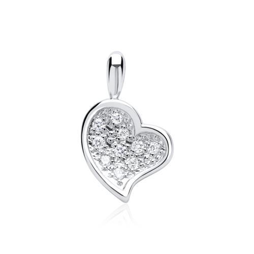 Weißgold kette mit herz  585er Weißgold-Kette Herz mit 10 Diamanten 0,06 ct.