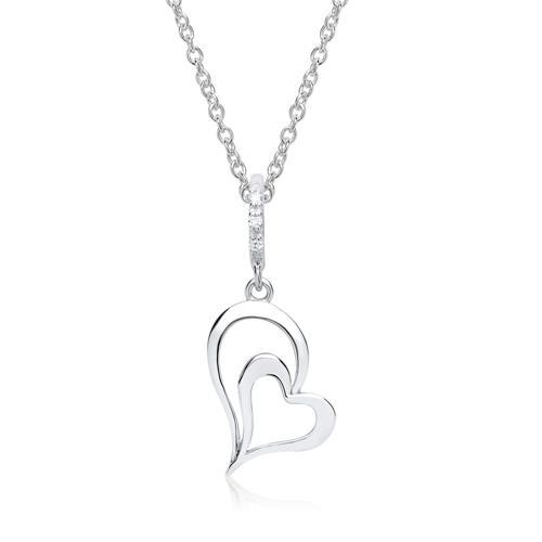 585er Weißgold-Anhänger Herz 3 Diamanten