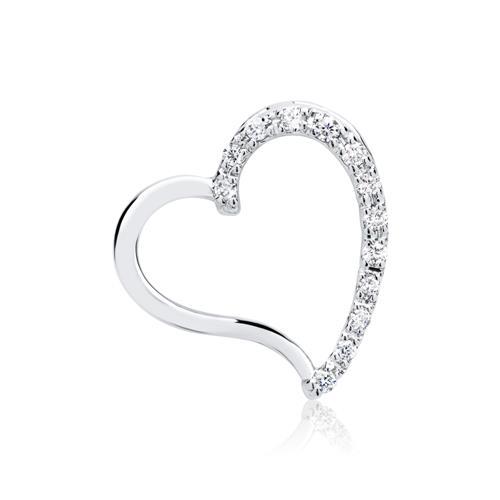 Weißgold-Anhänger Herz mit 13 Diamanten 0,09 ct.