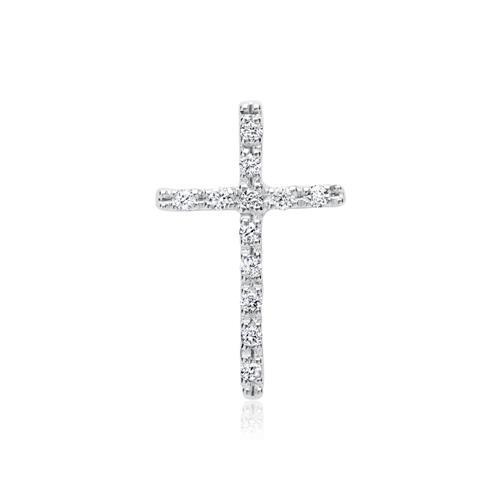 585er Weißgold-Kette Kreuz 12 Diamanten