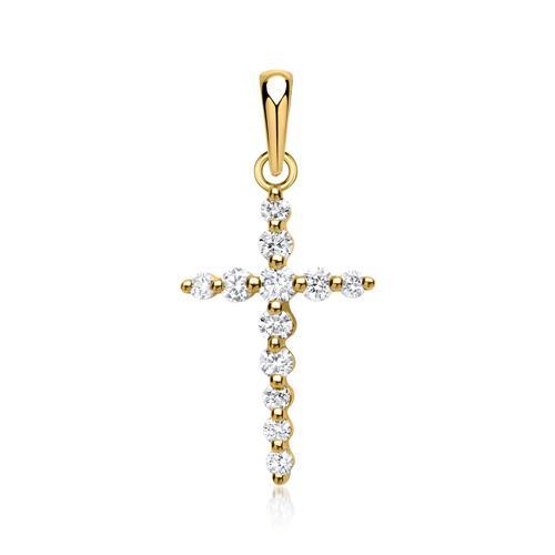 Kreuzanhänger in Gelbgold 12 Diamanten 0,29ct.