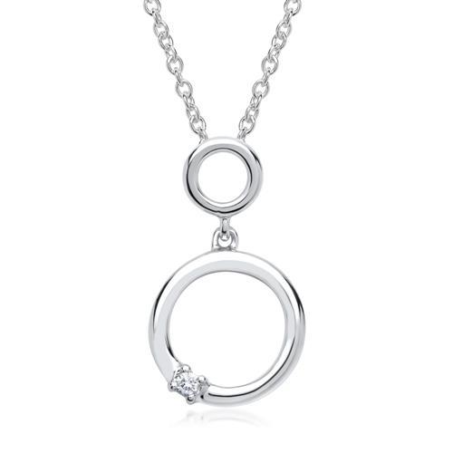 585er Weißgold-Kette Doppelkreis Diamant