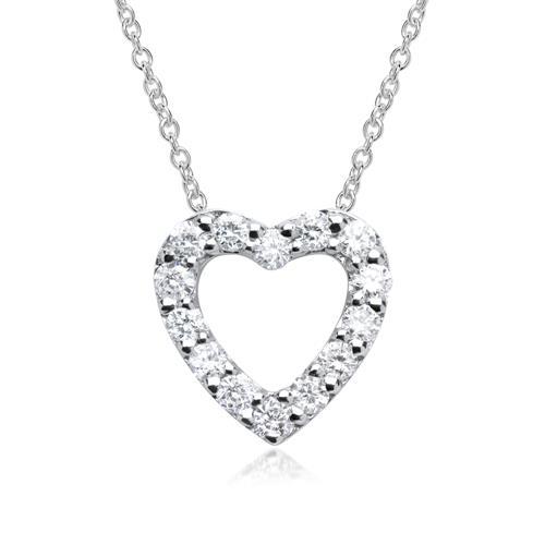 585er Weißgold-Anhänger Herz 14 Diamanten