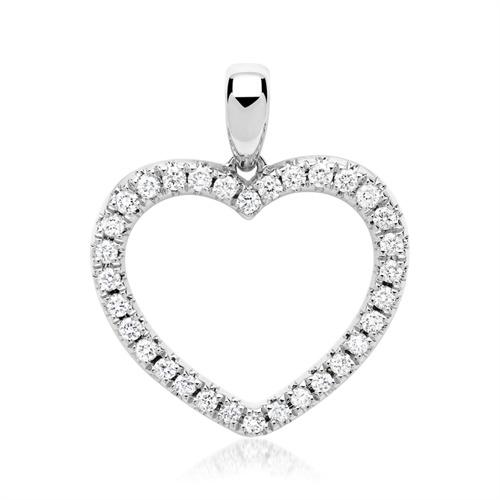 585er Weißgold-Kette Herz 32 Diamanten