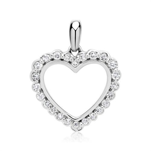 Weißgold-Kette Herz 24 Diamanten 0,17 ct.