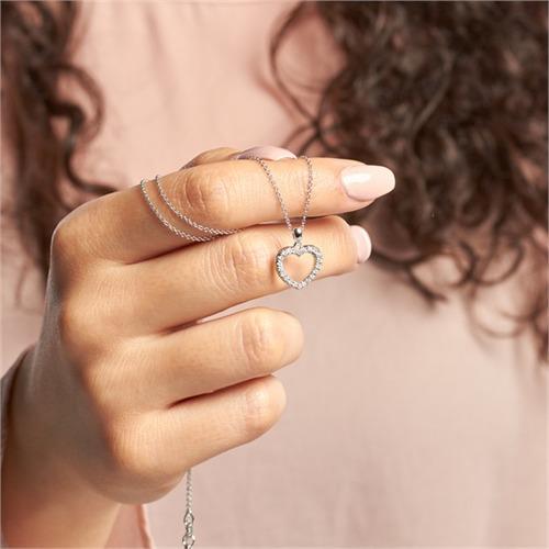 Weißgold-Herz-Anhänger mit 22 Diamanten 0,19 ct.