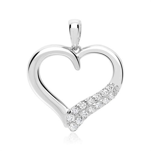 Weißgold-Anhänger Herz-Form 14 Diamanten
