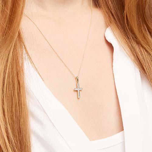 585er Gelbgold-Kette Kreuz Diamant