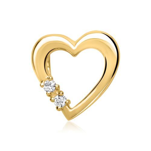 585er Gelbgold-Ketten-Anhänger 2 Diamanten