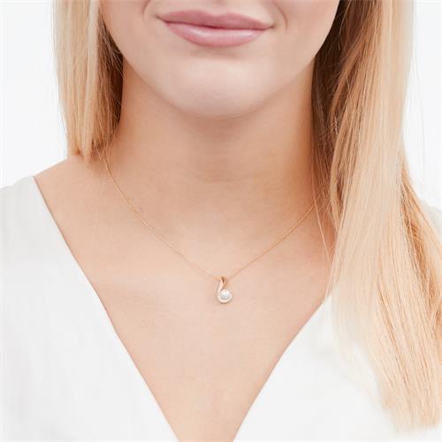 585er Gelbgold-Kette Perle 5 Diamanten