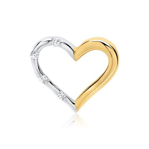585er Gelb- und Weißgold-Anhänger 4 Diamanten