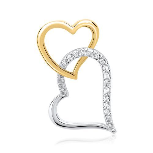 585er Gelb- und Weißgold-Hänger 12 Diamanten