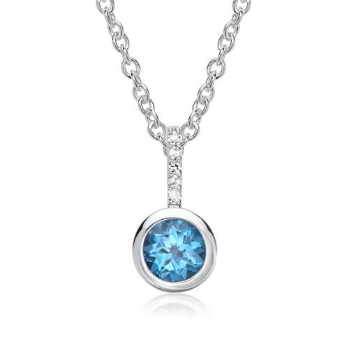585er Anhänger Topas 5 Diamanten 0,0425 ct.