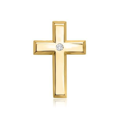 585er Gelbgold-Anhänger Kreuz Diamant 0,02 ct.