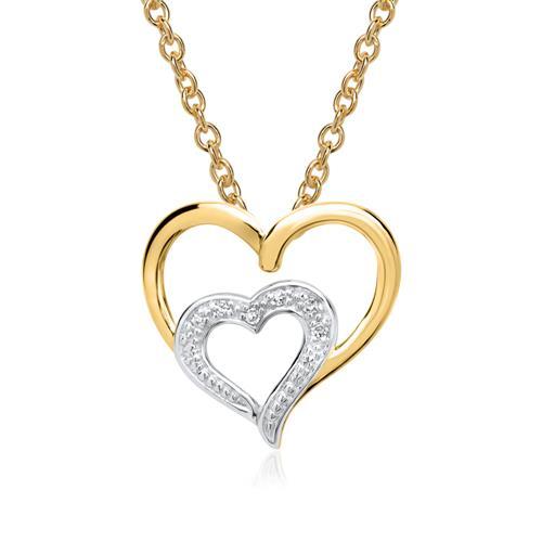 585er Gelbgold-Kette Herzen 6 Diamanten