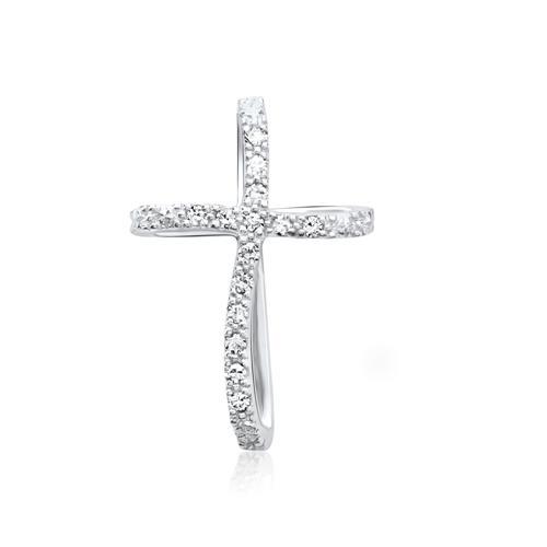 585er Weißgold-Kette Kreuz 14 Diamanten