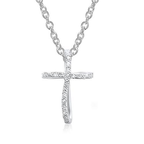 585er Weißgold-Anhänger Kreuz 14 Diamanten