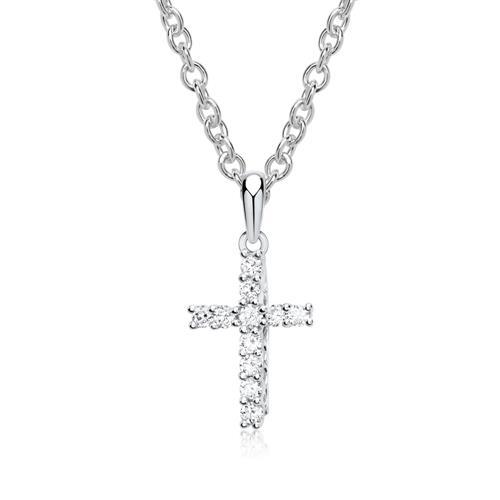 585er Weißgold-Kette Kreuz Diamant 0,15 ct.