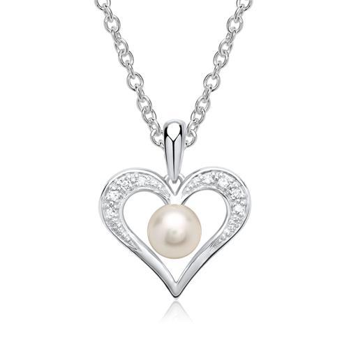 585er Weißgold-Anhänger Perle 8 Diamanten