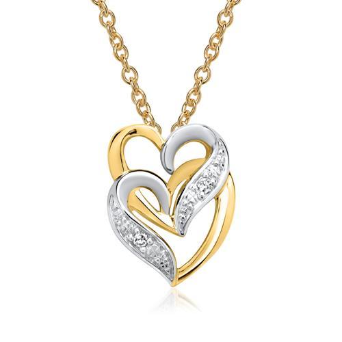 585er Gelbgold-Kette Herzen 2 Diamanten