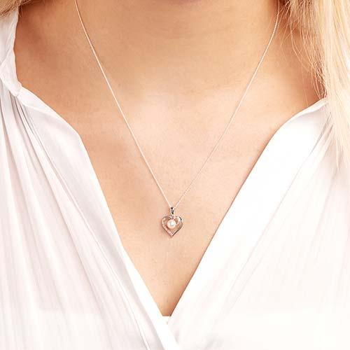 585er Weißgold-Kette Perle 4 Diamanten