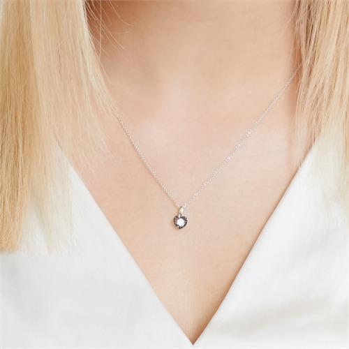 Anhänger 585er Weißgold schwarze weiße Diamanten