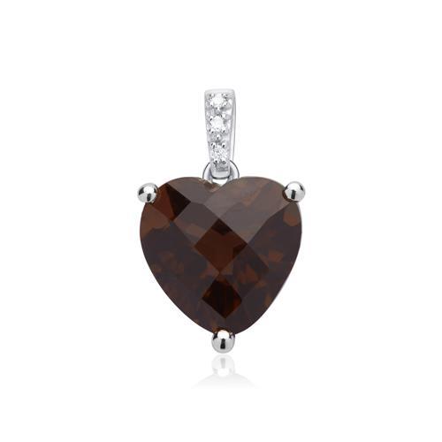 14K Weißgoldkette Rauchquarz Herz 3 Diamanten