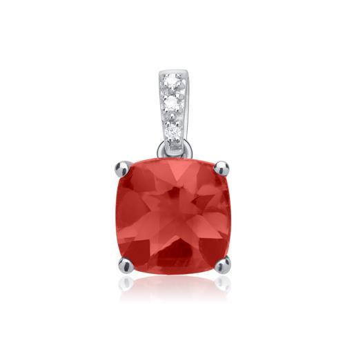 585er Weißgold Anhänger Granat und 3 Diamanten