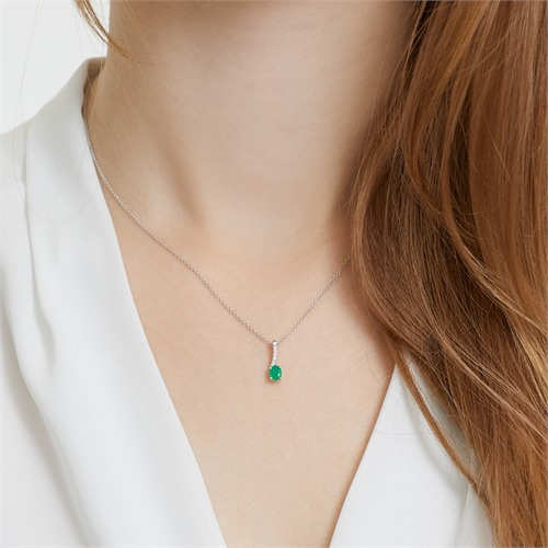 Smaragd Kette 585er Weißgold 7 Diamanten
