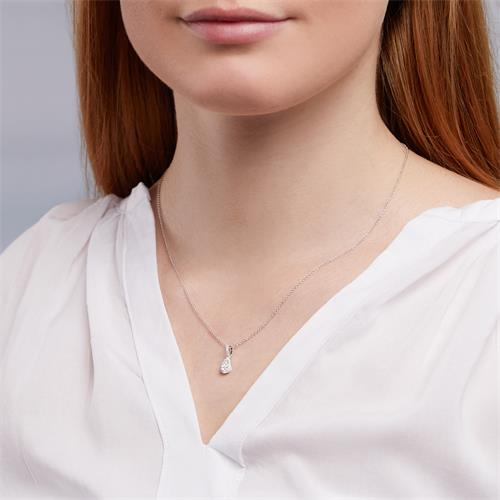 Tropfenförmiger Diamant-Anhänger Weißgold