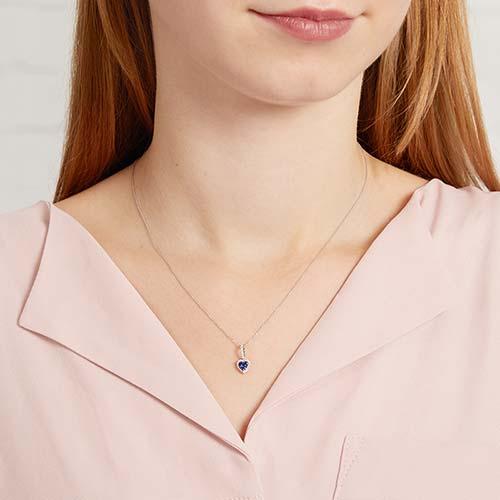 Herzanhänger Diamanten Saphire 0,25 ct gesamt