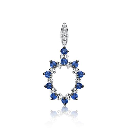 585er Gold Kette Diamanten Saphir 0,23 ct.